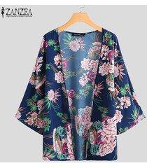 zanzea verano de las mujeres floral de la playa larga floja remata la blusa kimono cardigan más el tamaño -azul