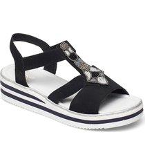 v02g9-00 shoes summer shoes flat sandals svart rieker