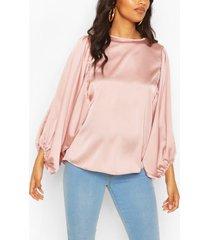 maternity drape sleeve satin top, rose