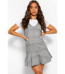 geruite losse jurk met losvallende zoom, grijs