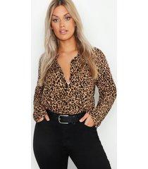 plus oversized luipaardprint blouse, bruin