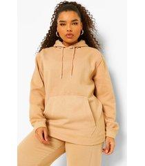 plus acid wash gebleekte hoodie, camel