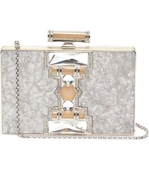 """jazz age' marble print crystal embellished box clutch"