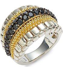 18k yellow gold, sterling silver,& black diamond ring