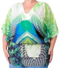 blusa confidencial extra plus size estampada feminino