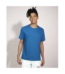 camiseta básica manga curta gola careca azul