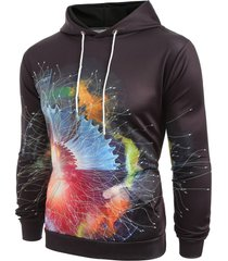 colorful printed pouch pocket pullover hoodie