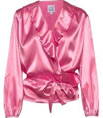 evelyn satin blus långärmad rosa line of oslo
