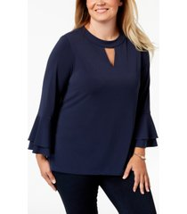 charter club plus size keyhole crepe top, created for macy's