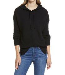 women's caslon rib hoodie, size xx-small - black