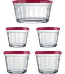 conjunto de tigelas nadir em vidro com tampa vermelha copo americano com 5 peças