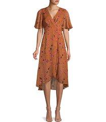 floral-print faux wrap dress
