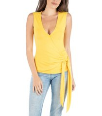 24seven comfort apparel sleeveless wrap over v-neck top with waist tie