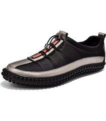 uomo casual scarpe in pelle abbinata leggere con chiusura elastica sneakers
