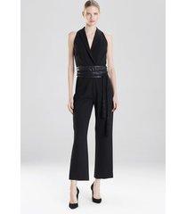 crepe tuxedo jumpsuit, women's, black, size 2, josie natori