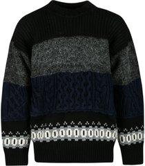 sacai patterned knit sweater