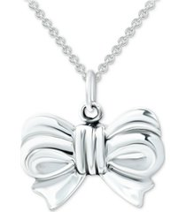 "giani bernini bow 18"" pendant necklace in sterling silver, created for macy's"
