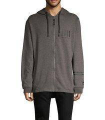 projek raw men's full-zip cotton-blend hoodie - grey - size m