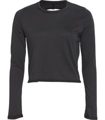 onzie women's vintage tie back long sleeve yoga top - black sm