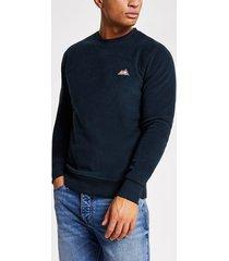 mens jack and jones navy fleece sweatshirt