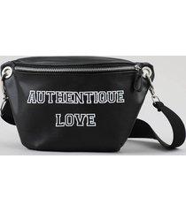 "pochete feminina ""authentique love"" preta"