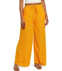 bp. print woven wide leg pants, size small in orange sal retro ditsy at nordstrom