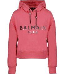 balmain mirrored logo cropped hoodie