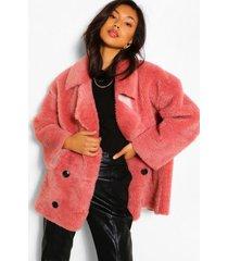 faux fur teddy jas met nep suède voering en dubbele knopen, rose