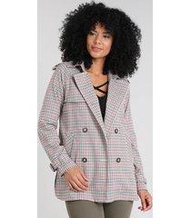 casaco trench coat feminino estampado xadrez com capuz cobre