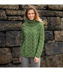 the comeragh green aran sweater xxl