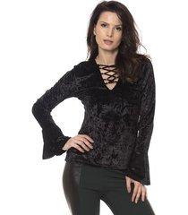blusa bisô trançada veludo feminino