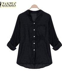 zanzea estilo coreano de las mujeres de lino camisas de verano fina con cuello en v manga larga blusa tapas ocasionales blusas tallas grandes (negro) -negro
