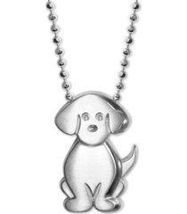 """alex woo diamond accent dog 16"""" pendant necklace in sterling silver"""
