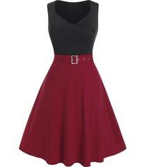 plus size two tone bicolor eyelet buckle a line dress