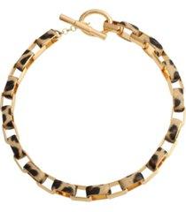 jessica simpson leopard link collar necklace