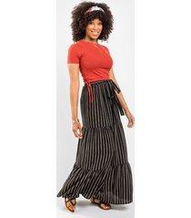 bethany striped skirt - black
