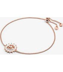 mk braccialetto con cursore in argento sterling con placcatura in metallo prezioso e logo - oro rosa (oro rosa) - michael kors