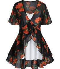 plus size flower sheer flounce blouse and cami top set
