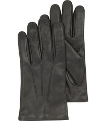 forzieri designer men's gloves, black leather handmade men's gloves w/wool lining