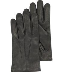 forzieri designer men's gloves, black leather handmade men's gloves w/wool lining