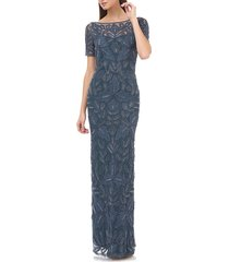 women's js collections beaded soutache evening dress, size 4 - blue