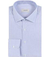 camicia da uomo su misura, canclini, azzurra geometria, quattro stagioni | lanieri