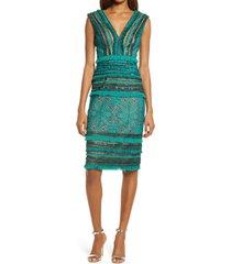 tadashi shoji lace & fringe sheath dress, size 6 in herbal green at nordstrom