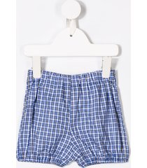 siola checked baggy shorts - blue