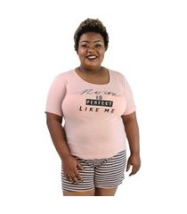 "pijama feminino no one is perfect"" rose com listras plus size"""