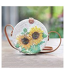 bamboo decoupage shoulder bag, 'tropical sunflowers' (indonesia)