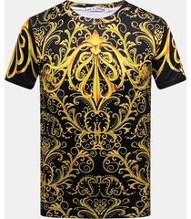 t-shirt casual a manica corta con scollo a farfalla stampata in 3d da uomo