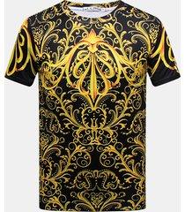 t-shirt casual a maniche corte con scollo a v stampato in 3d da uomo