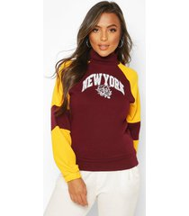 petite varsity slogan high neck sweat top, burgundy