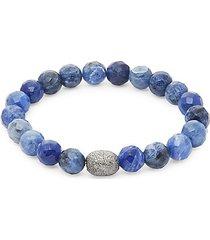 sterling silver & agate bead bracelet